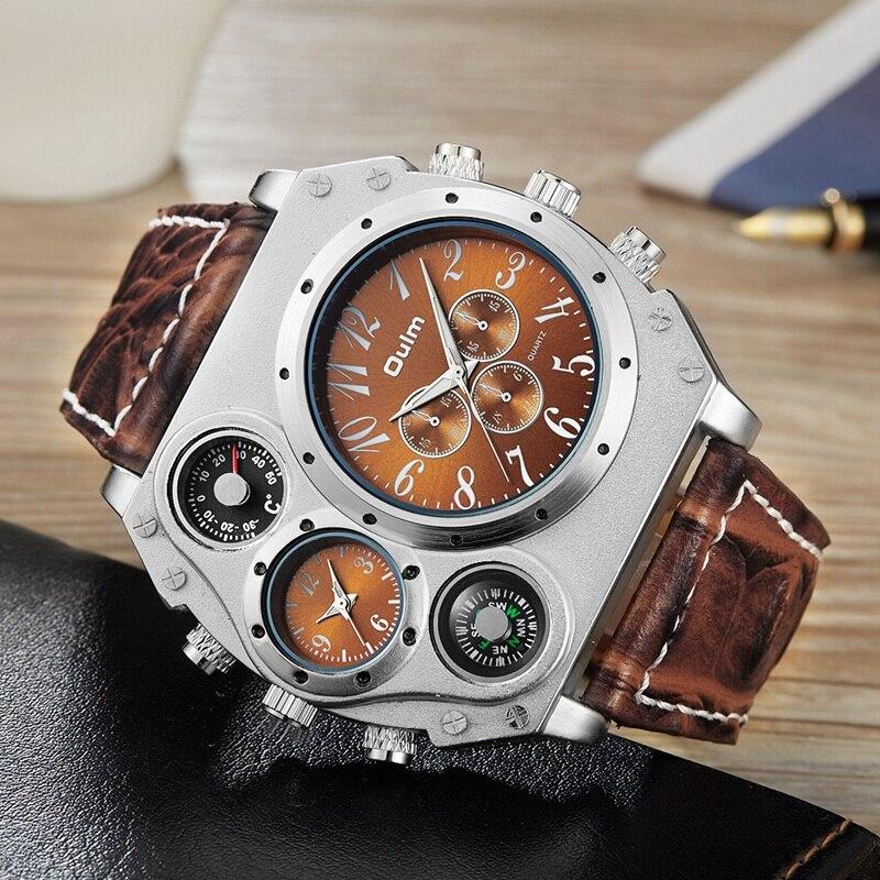 Oulm Mens Designer Watches Luxury Watch Male Quartz-watch 3 Small Dials Decoration Leather Strap Wristwatch relogio masculino