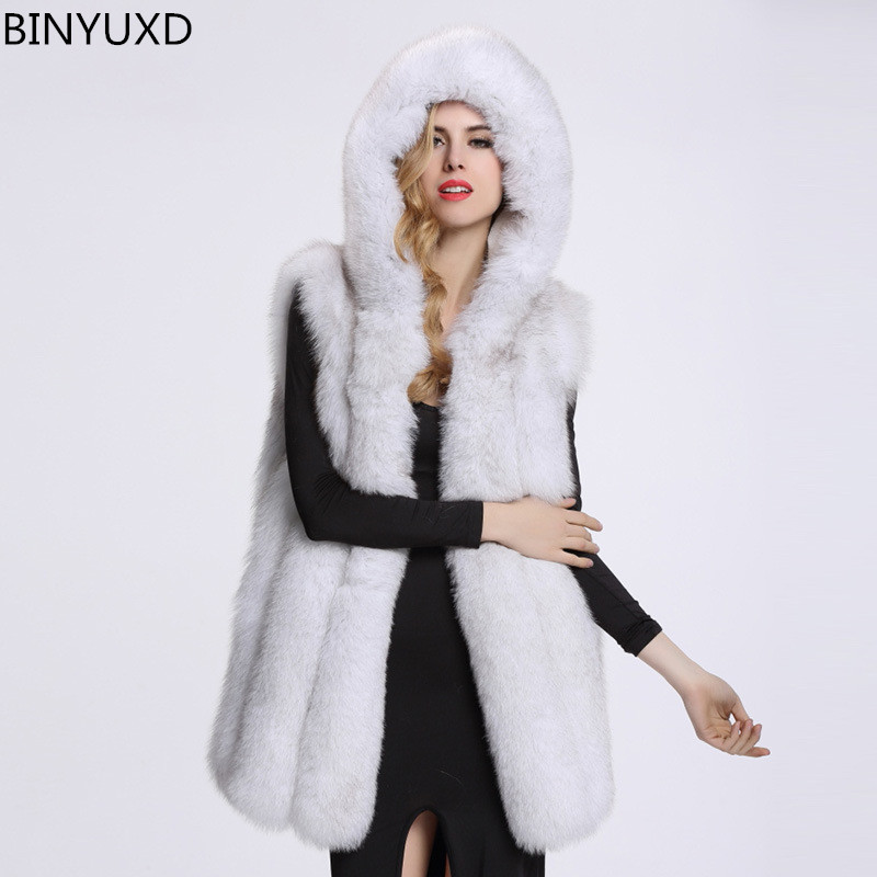 New Arrival Winter Warm Fashion Women Import Coat hooded Fur Vest High-Grade Faux Fur Coat Fox Fur Long Vest Plus Size: S-XXXL скейт sulov neon pink