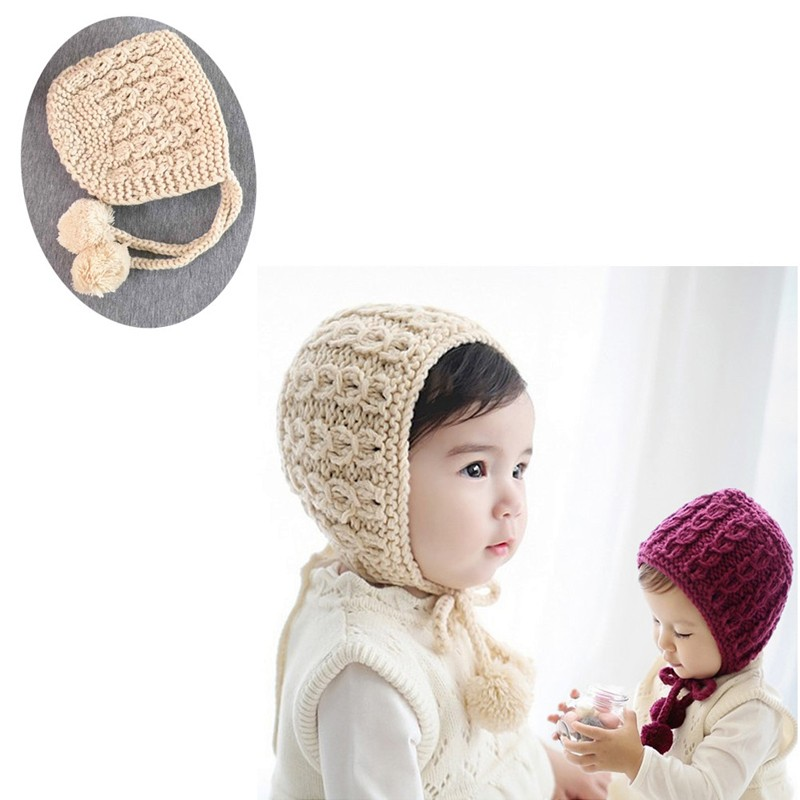 c5a072ceaaa M89CWine Red Beige Cute Baby Toddler Kid Boys Girls Knitted Crochet Soft  Warm Beanie Winter Hat