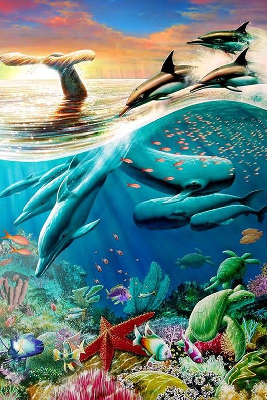 دائرية كاملة حجر الراين 5D DIY الماس اللوحة أعماق البحار الحوت الماس التطريز عبر غرزة المنزل الديكور الحرف