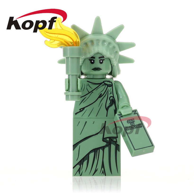Single Sale Super Heroes Statue of Liberty Gingerbread Man Inhumans Royal Family Model Building Blocks Children Gift Toys XH 495