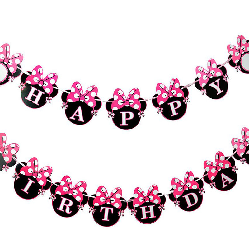 Cartoon Minnie Mouse themed Happy <font><b>Birthday</b></font> party Decoration Supply for girl 1st 2th 3th 4th 5th 6th 7th <font><b>8th</b></font> 9th 10th <font><b>birthday</b></font> image