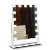 Большой светодиодный Макияж зеркало roration Настольный белый желтый освещенные Сенсорный экран косметическое зеркало с 15 шт. лампы для Гардер...