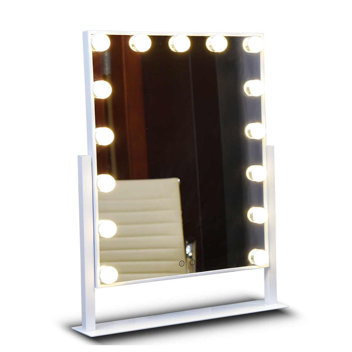 Large LED Makeup Mirror Roration Tabletop White Yellow Lighted Touch Screen Vanity Mirror With 15PCS Bulbs For Dressing Room wooden dressing table makeup desk with stool oval rotation mirror 5 drawers white bedroom furniture dropshipping