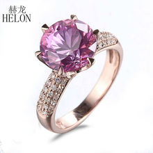 HELON Solid 14K Rose Gold 9mm Round 4.12ct Pink Topaz Pave 0.4ct Natural Diamonds Gorgeous Women's Jewelry Engagement Fine Ring
