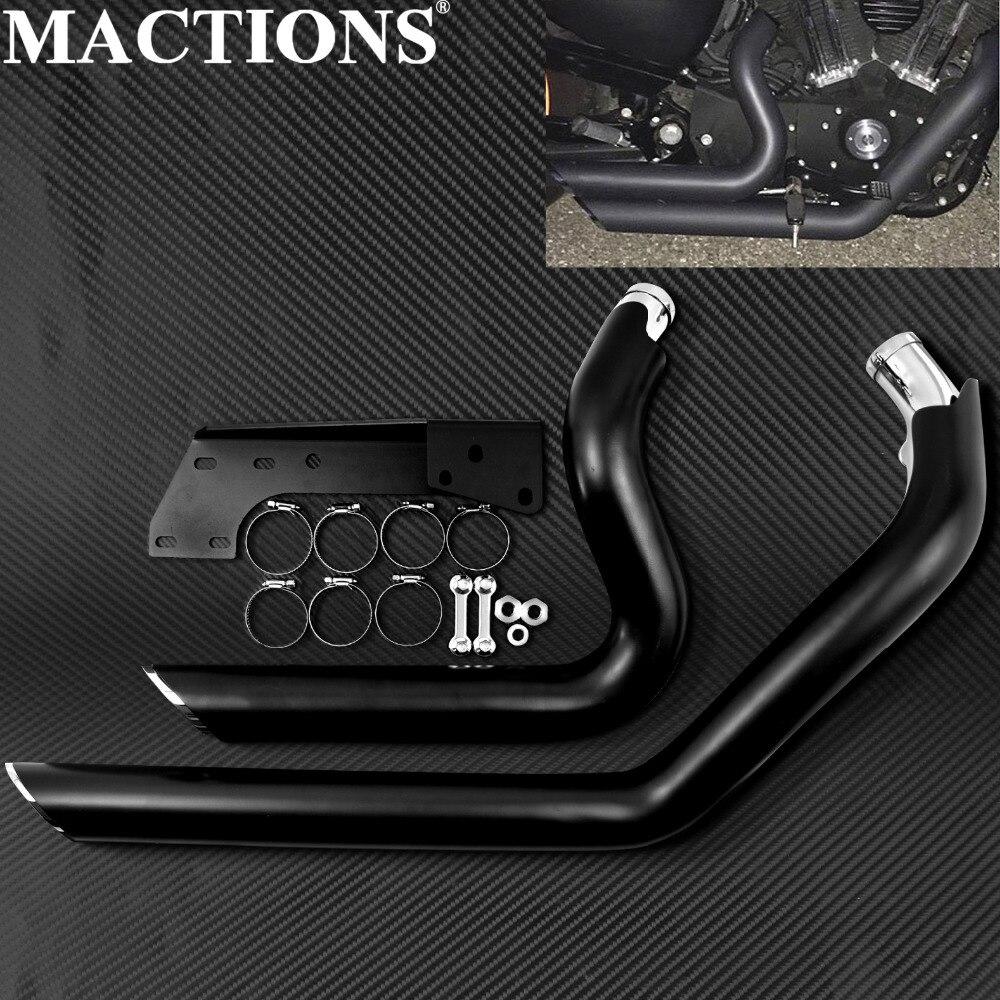 Moto noir décalé courts coups d'échappement tuyaux pour Harley Sportster XL883 XL1200 2004-2012 2013 2014-2018