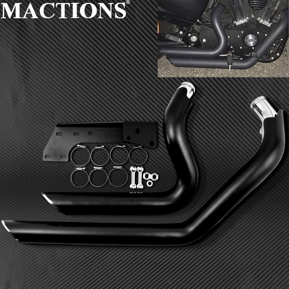 Motocicleta Preto Cambaleou XL883 XL1200 Shortshots Tiros Curtos Tubos de Escape Para Harley Sportster 2004-2012 2013 2014-2018