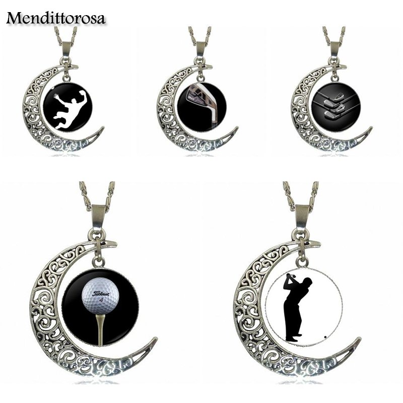 Mendittorosa Fashion Jewelry Vintage Glass Necklace With Crescent Moon For Girls Handmade Gift Golf Player