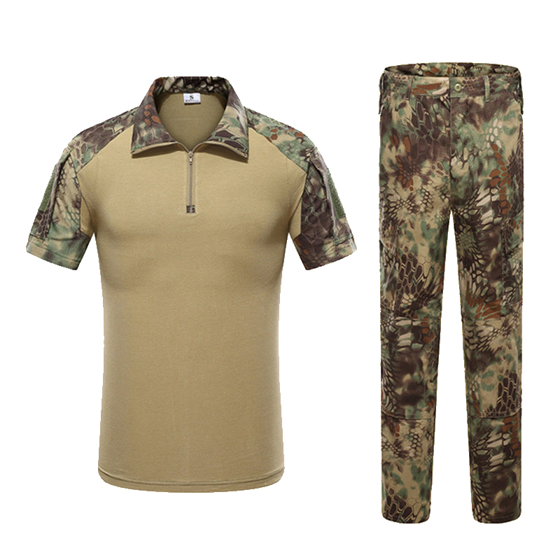 Tactical Gear Military Army Uniform Combat T-shirt And Pants With Knee Pads Rapid Assault Airsoft Paintball Hunting Suits