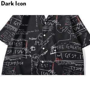 Image 5 - Мужская рубашка в стиле ретро с принтом «Темный значок», уличная рубашка с коротким рукавом и отложным воротником в стиле хип хоп, лето 2019