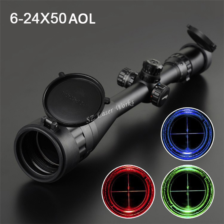 all-Optics Waterproof Hunting Rifle Scope 6-24x50AOL Red & Green & Blue Dot airsoft.gun tactical optics scope riflescope tactical hunting optics rifle scope 6 24x50 aoeg red