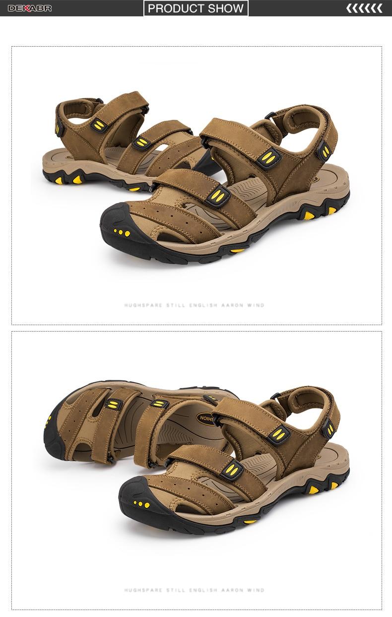 a3fbc0963793 Dekabr New Fashion Summer Shoes Cow Leather Men Sandals Mens Casual ...