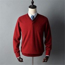 Чистый коза, кашемир толстый вязаный мужской умный Повседневный v-образный Вырез Свободный пуловер свитер сплошной цвет S-2XL розничная прода...