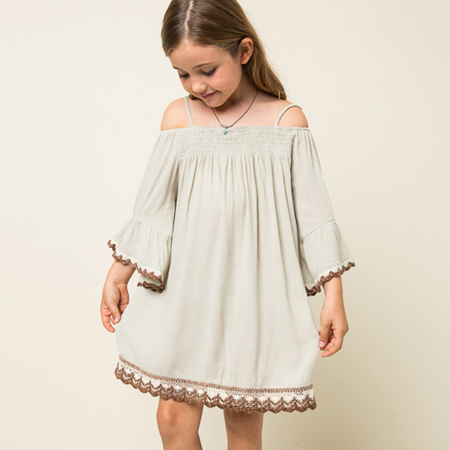 BOHO Girls Shoulderless Lace Dress Casual Princess Dresses Three Quarter  Sleeve Mini Party Dress Free Shipping ed7e3a68a201