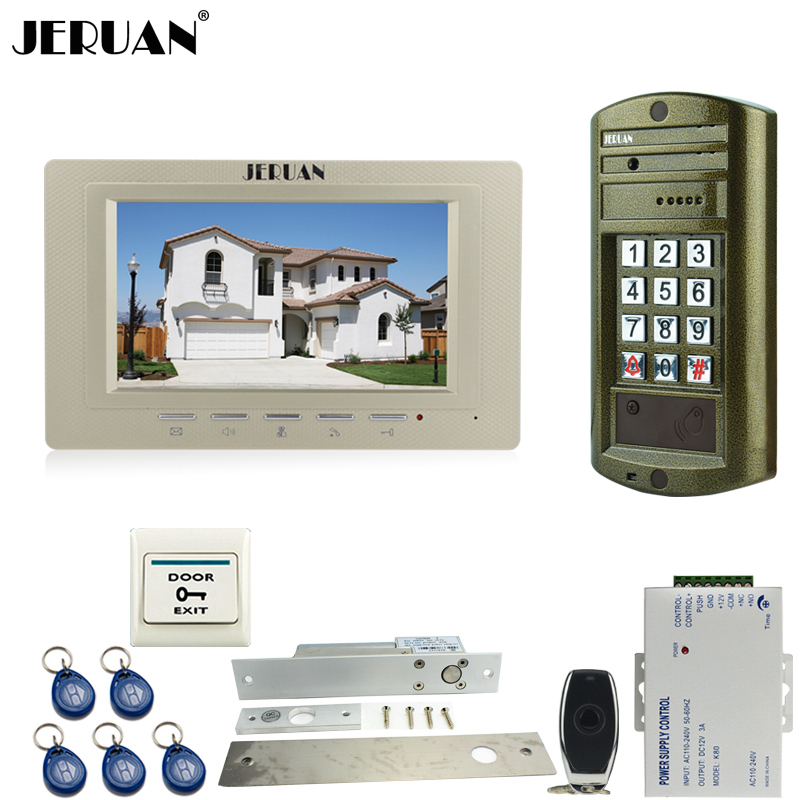 JERUAN 7`` Video Door Phone Intercom System kit Metal panel Waterproof password keypad HD Mini Camera + Electric Drop Bolt lock jeruan 8 inch video door phone high definition mini camera metal panel with video recording and photo storage function