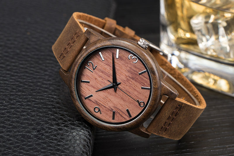 SIHAIXIN Man Watches Classic Luxury Leather Straps Quartz Male Clock Engraved With Personal Text Wood Wristwatch Gift For Him 13