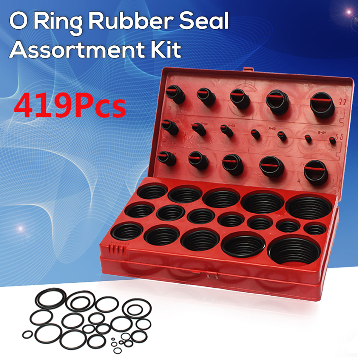 419Pcs Assorted O Ring Rubber Seal Assortment Set Kit for General Plumbers Mechanics Workshop Garage Plumbing With Case 419pcs o ring kit set rubber washer seals gaskets plumbing garage assortment auto electric repair tools accessories