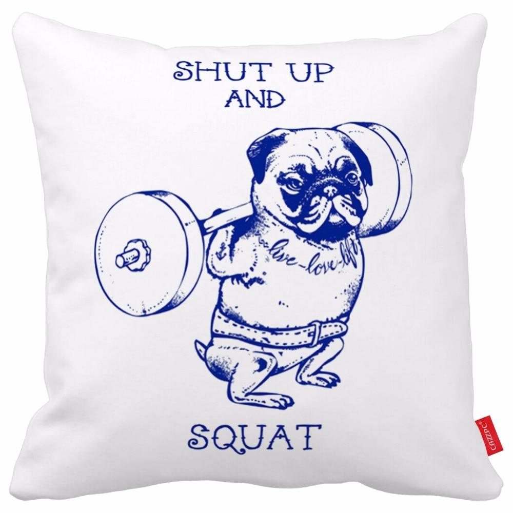 Funny Fitness Shut Up and Squat Pug Print Car Decorative ...