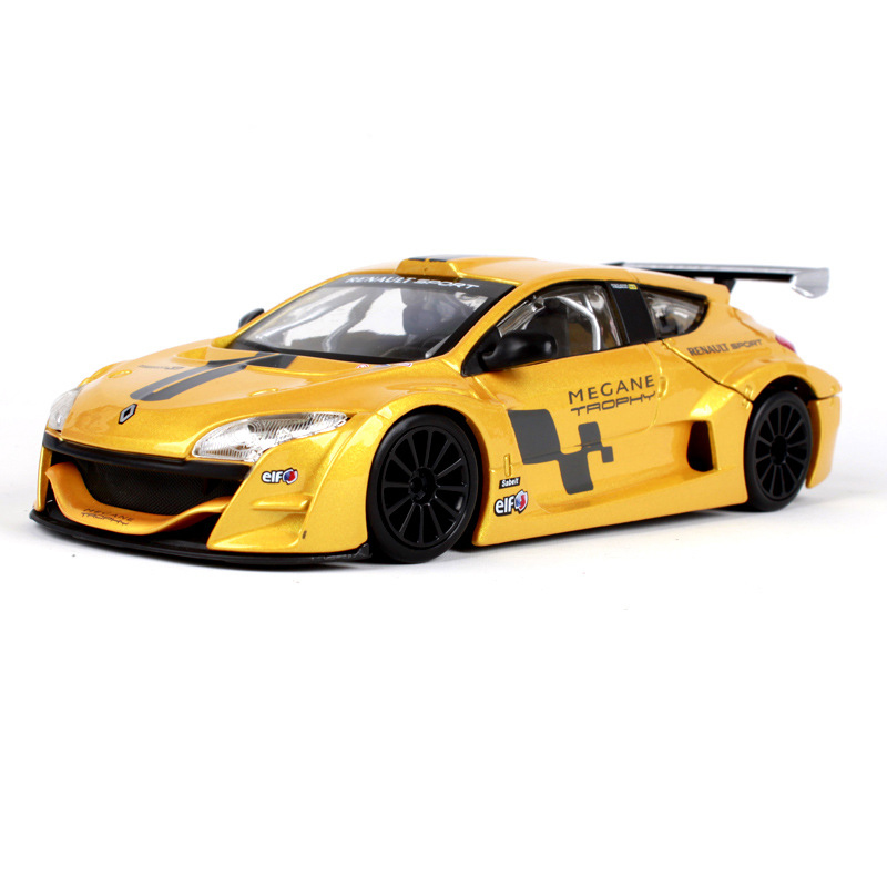 Bburago 1:24 Megane Trophy Yellow Diecast Model Car Metal Racing Car Kids Toys Car simulation model For Gift Collection