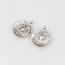 5pcs/lot 28MM Handmade Retro Plated Silver Zinc Alloy Vintage Round Eagle Coin Charms pendants For DIY Jewelry Accessories
