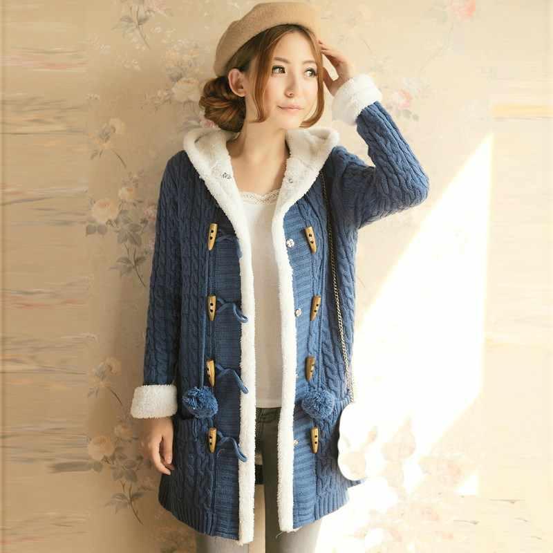 봄 겨울 여성 두꺼운 스웨터 코트 인과 싱글 브레스트 후드 니트 카디건 코트 긴 소매 따뜻한 슬림 스웨터 자켓