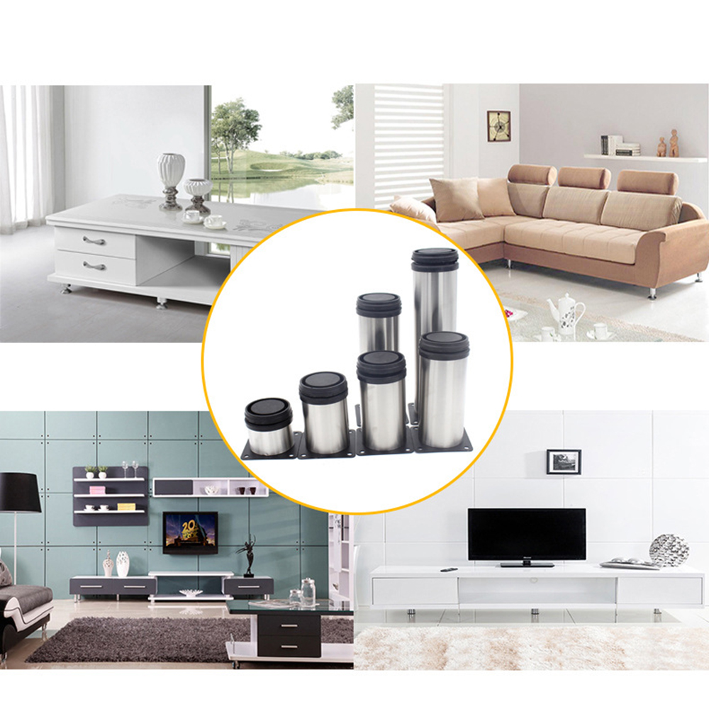 Furniture Adjustable Cabinet Legs Foot Stainless Steel Round Table Sofa Metal Foot With Screws Home Improvement Hardware