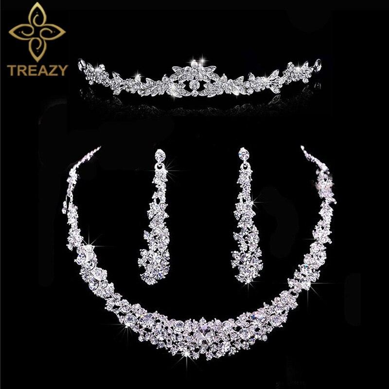 Treazy Mode Silber Farbe Kristall Braut 3 Stücke Set Floral Halskette Ohrringe Stirnband Tiara Braut Hochzeit Schmuck-sets Für Frauen Erfrischung Hochzeits- & Verlobungs-schmuck
