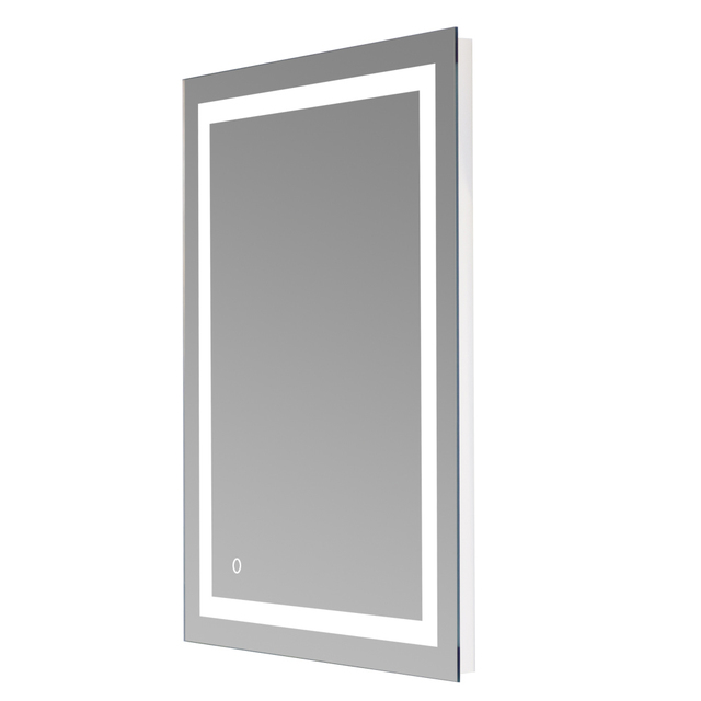 Square Wall Mount Bathroom Makeup Mirror Silver Aluminum Touch Screen LED Bathroom Vanity Mirror Lights with Magnifying Mirror 4