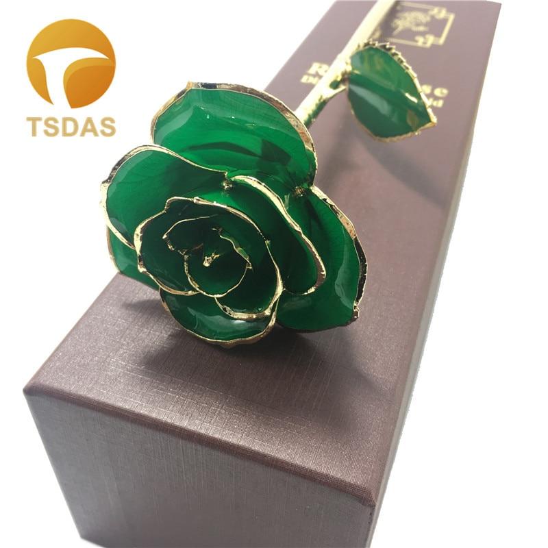 럭셔리 24k 금 도금 로즈 선물 상자 발렌타인 장식 녹색 꽃 골드 담근 장미