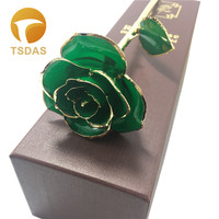 Luxury 24k Gold Plated Rose With Gift Box Valentine's Day Decoration Green Flower Gold Dipped Rose