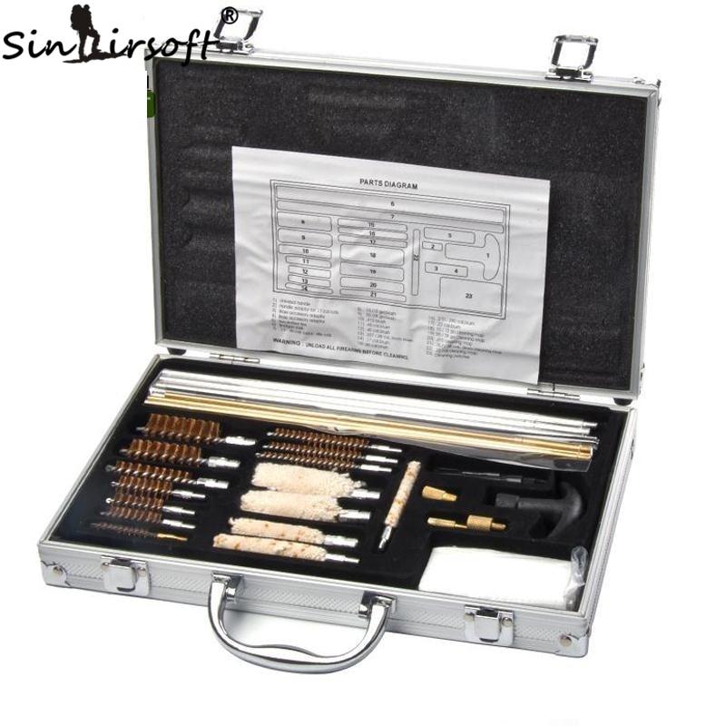 Kit de nettoyage de pistolet universel pour fusil pistolet de poing fusil de chasse nettoyant boîtier en aluminium boîte accessoires de chasse
