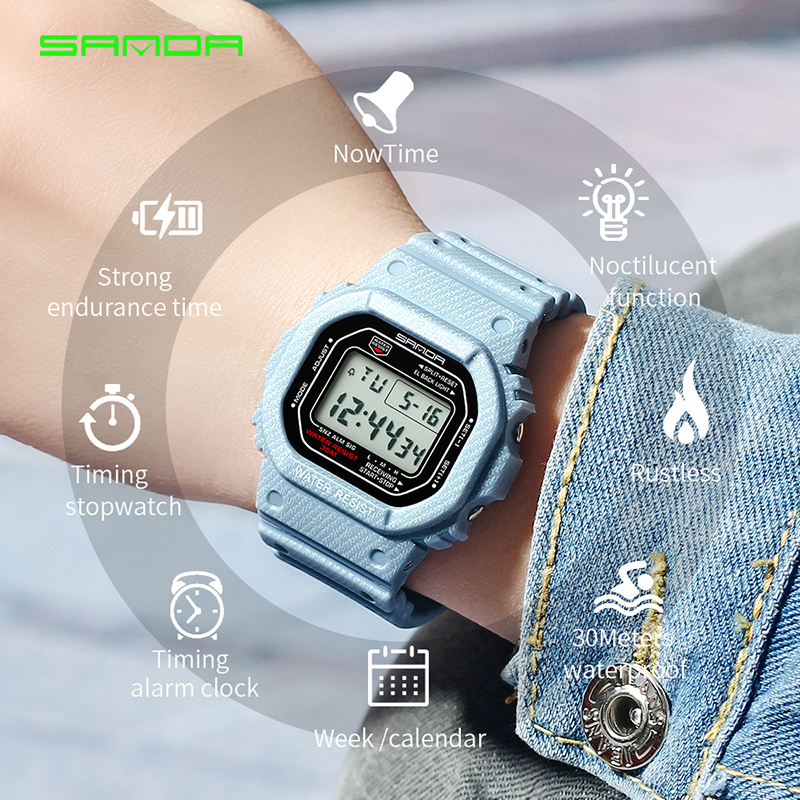Luxury Women Men Digital Sport Watch Waterproof Stopwatch Sports Bracelet Fashion Outdoor Wristwatch Top Brand SANDA Watches