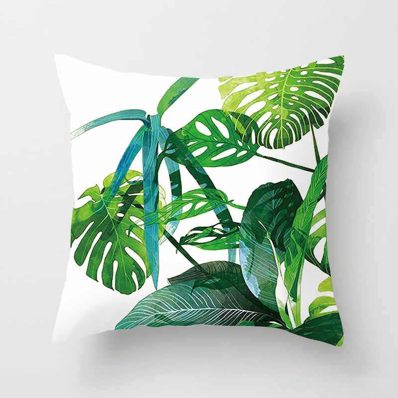 Capa de Almofada de Poliéster Folhas Verdes Plantas tropicais Planta Tropical Lance Fronha Capa de Almofada Fronha Decorativa