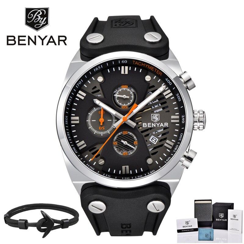 BENYAR Sport Men Watch Top Brand Luxury Waterproof Military Chronograph Quartz Man Watch Army Male Clock Relogio Masculino Saat цена