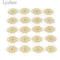 Lychee Life 20pcs металлическая филигрань цветочные ломтики, золотой, серебряный цвет, бронзовый цвет, украшения для скрапбукинга DIY альбом