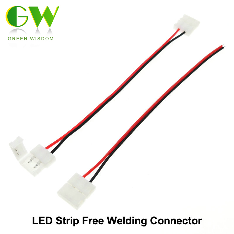 LED Strip Connector 2pin 10mm / 2pin 8mm with Wire Free Welding Connector 5pcs/lot new 5pcs 2pin 3pin 4pin led connector l t x shape fpc adapter free welding for 8mm 10mm 3528 2812 5050 rgb light strip