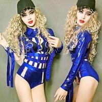 Blue Turndown Collar Classic Buckle Hollow Grid Woken Adult Bodysuit Ds Bar Nightclub Dj Singer Dancer Stage Show Sexy Costume