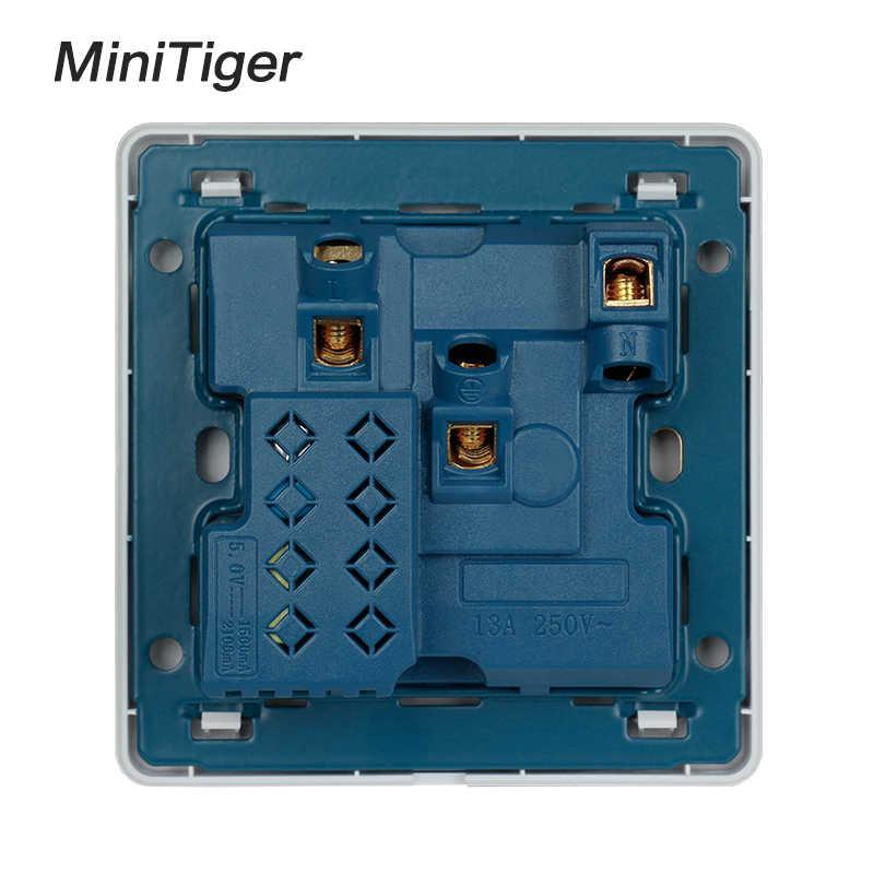 Minitiger złoty kolor ścienne gniazdo zasilające 13A uniwersalny 5 otwór przełączane wylot 2.1A podwójny port ładowarki usb wskaźnik LED