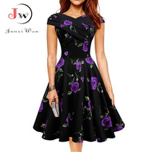 Women Vintage dress 1950s Floral Print Elegant Dresses Summer Sexy 60s Retro Rockabilly Swing Party Dress