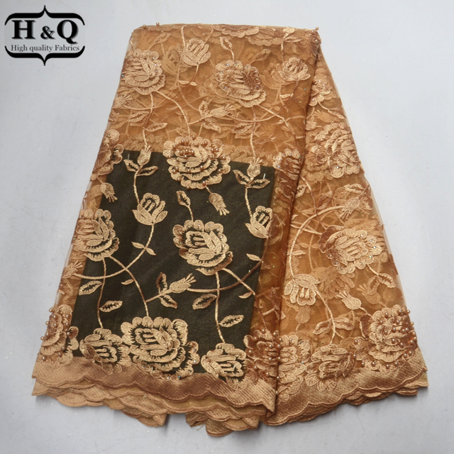 Good Price African Lace Fabric 5 Yards France Tulle Embroider Lace Beads  With Stones Nigeria Guipure 5c0021e2c5fc