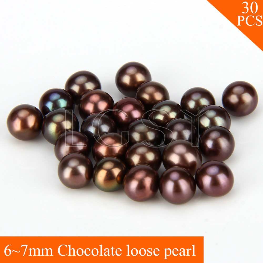 FREE SHIPPING, Shinning 6-7mm AAA Chocolate saltwater round akoya pearls 30pcs for fitting Jewelries