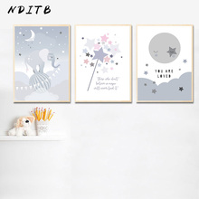 Cartoon Elephant Canvas Print Wall Art Poster Nursery Quotes Painting Nordic Kid Decoration Picture Children Baby Bedroom Decor цена