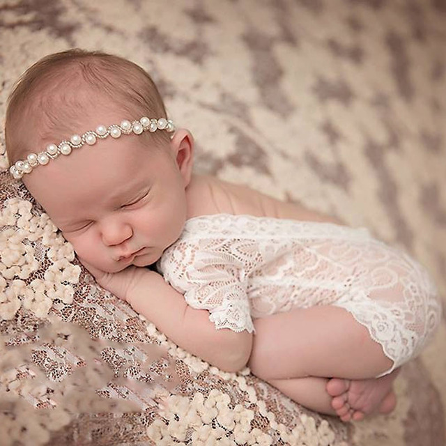 bc7ab4083f06 2Style Newborn Lace Romper Cute Baby Clothes Black White Newborn  Photography Props Baby Girl Jumpsuit Infant New Born Clothing Y