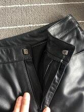 Лучший!  Женские прямые брюки из натуральной кожи высокого качества 2019 весна осень кожаные штаны из овчины  Л�