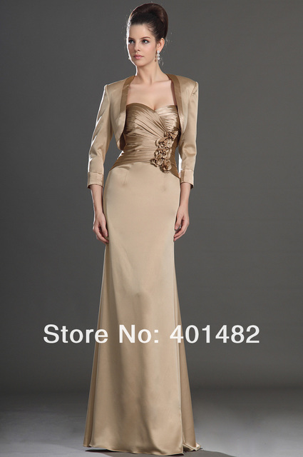Formal Wedding Party Dress Sexy Mermaid Two Pieces with Jacket Pleated Bodice Satin Mother of the Bride Dress Freeshipping