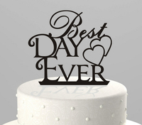 Acrylic Personalized Best Day Ever Wedding Cake Topper With Double Heart