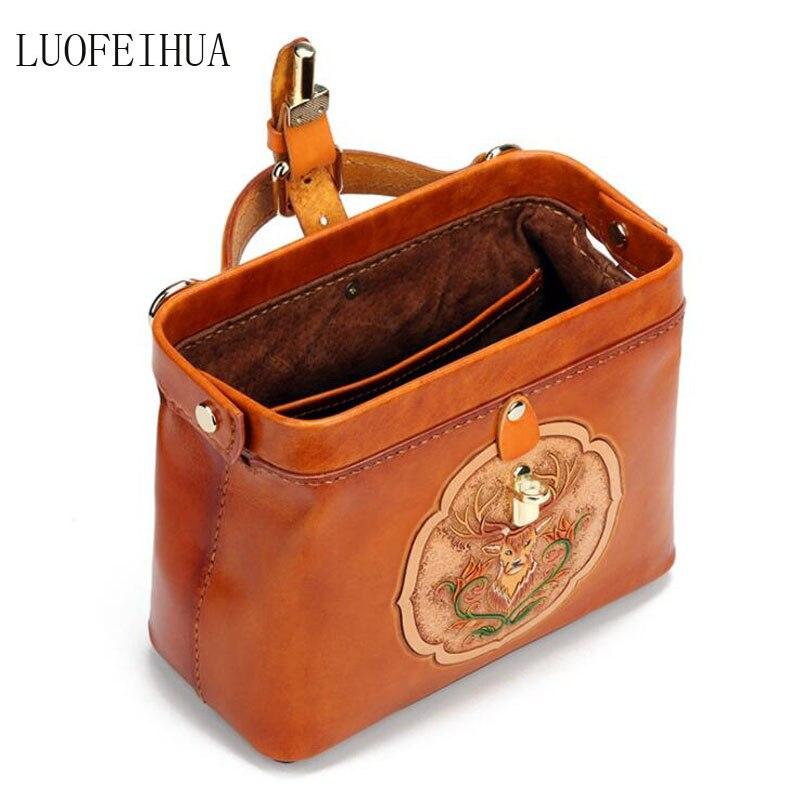 Bolso de cuero genuino para mujer 2019 nuevo estilo chino bolso de mensajero portátil de lujo de cuero tallado retro bolsa de viaje bolso de diseñador - 4