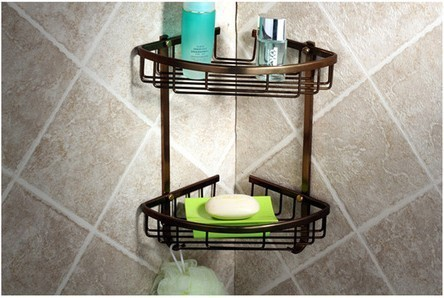 Aluminum 2 tier corner bronze shelf for bathroom shower caddy with hook wall mount organizer accessories for bathroom