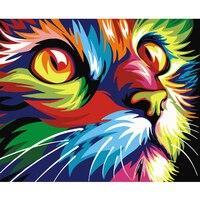Digitale Diy ölgemälde durch zahlen wand-dekor auf leinwand ölfarbe färbung durch nummer zeichnung tiere gott katze deer bild