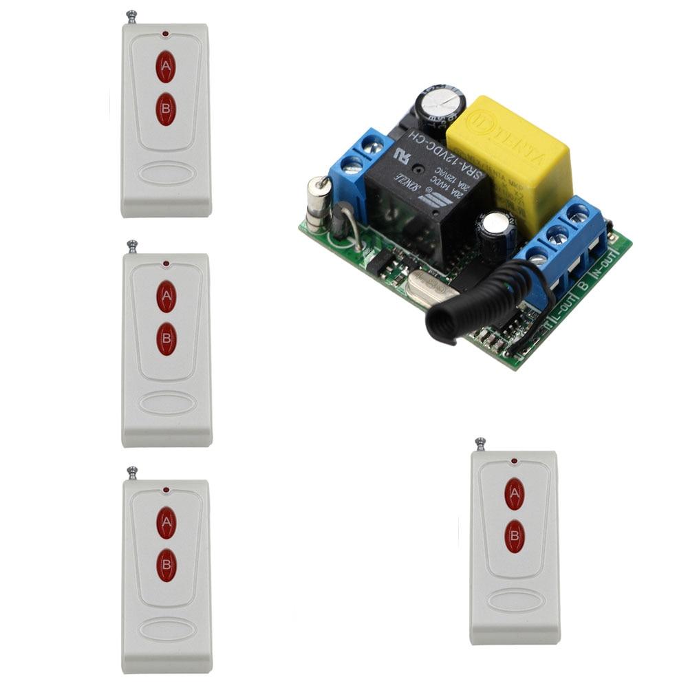 AC22V 10A 1CH RF Sistema de Interruptor de Control Remoto Transmisor de 4X + 1 X